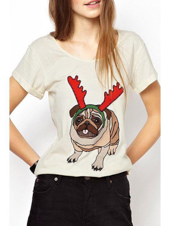 T-shirt à motif manches courtes à motifs - Blanc Cassé L