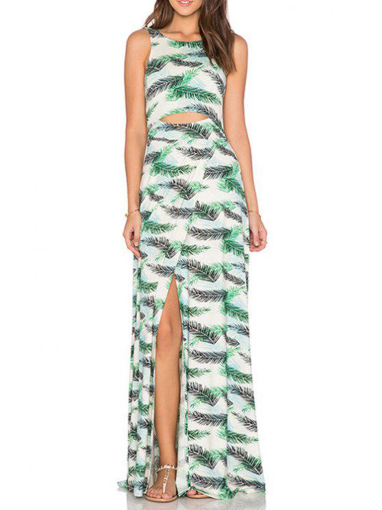 outfit Feather Print Bare Midriff Slit Dress - WHITE S