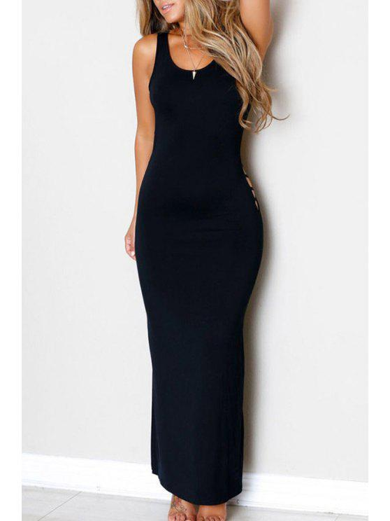 online Backless Hollow-Out Sleeveless Black Maxi Dress - BLACK ONE SIZE(FIT SIZE XS TO M)