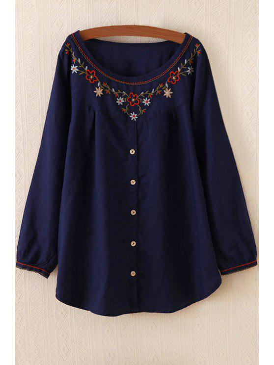 chic Embroidery Embellished Flare Dress - PURPLISH BLUE ONE SIZE(FIT SIZE XS TO M)