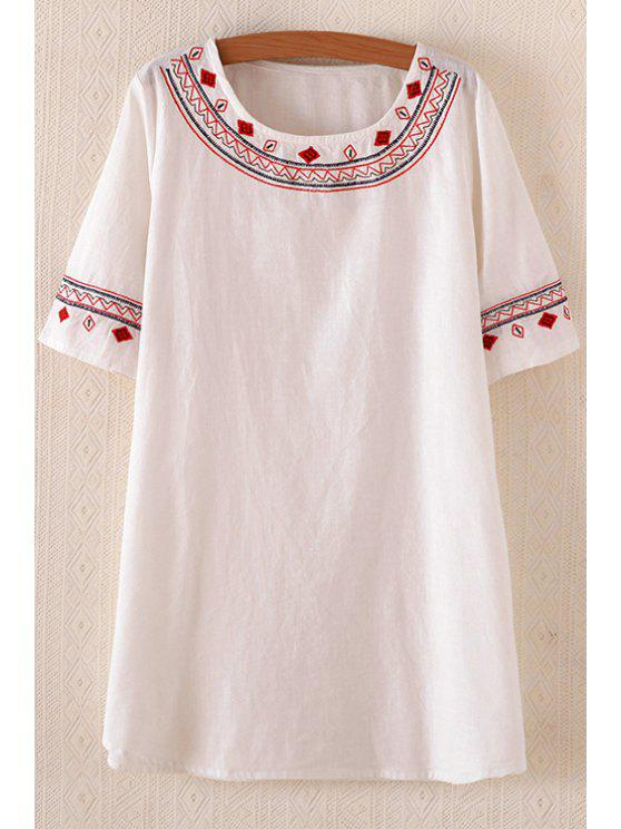affordable Short Sleeve Embroidered Long T-Shirt - WHITE ONE SIZE(FIT SIZE XS TO M)