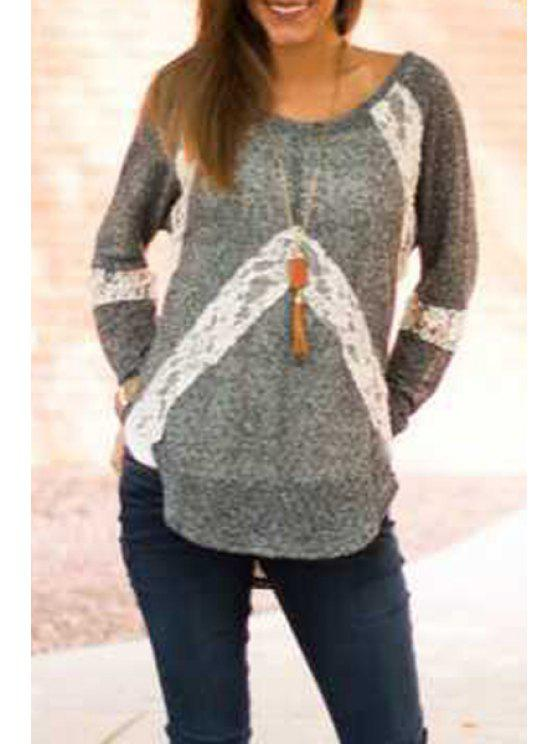chic White Lace Splicing Long Sleeve T-Shirt - GREY AND WHITE S