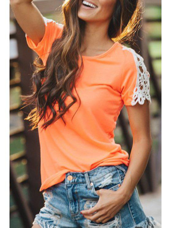 buy Lace Splicing Short Sleeves T-Shirt - JACINTH L