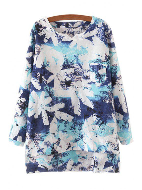 women Long Sleeve Tie-Dyed High Low T-Shirt - BLUE ONE SIZE(FIT SIZE XS TO M)