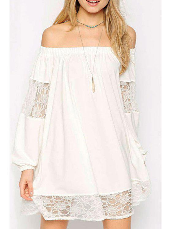 fashion Lace Spliced Slash Collar Long Sleeve Dress - WHITE M