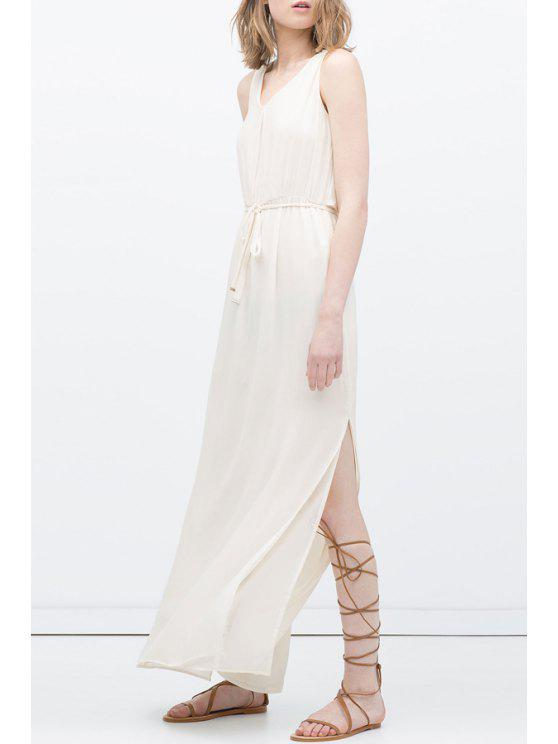 outfit V Neck Solid Color Belt Sleeveless Dress - WHITE XS