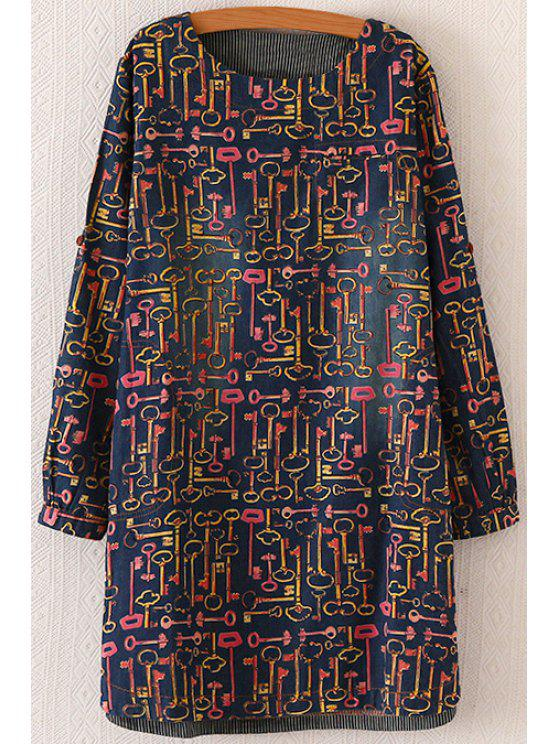 affordable Long Sleeve Full Key Straight Dress - BLUE ONE SIZE(FIT SIZE XS TO M)