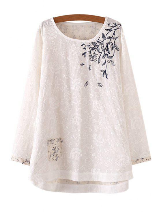 best Embroidered Umbrellas Print Long T-Shirt - WHITE ONE SIZE(FIT SIZE XS TO M)