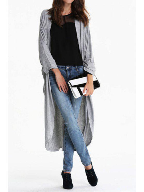 hot Light Gray Collarless Long Sleeve Blouse - GRAY S