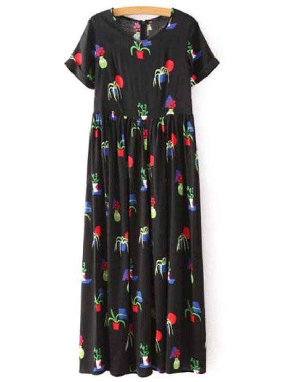 womens Full Floral Short Sleeve Maxi Dress - BLACK S