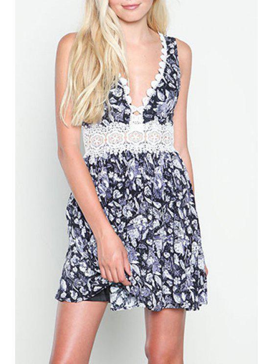 fashion Plunging Neck Lace Splicing Floral Print Dress - COLORMIX S
