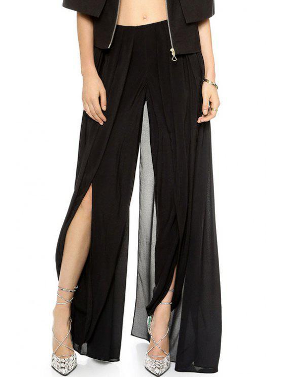 lady Solid Color High Slit Elastic Waist Pants - BLACK M