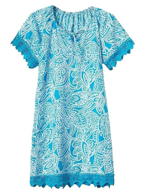 hot Floral Lace Spliced Short Sleeve Dress - LIGHT BLUE S