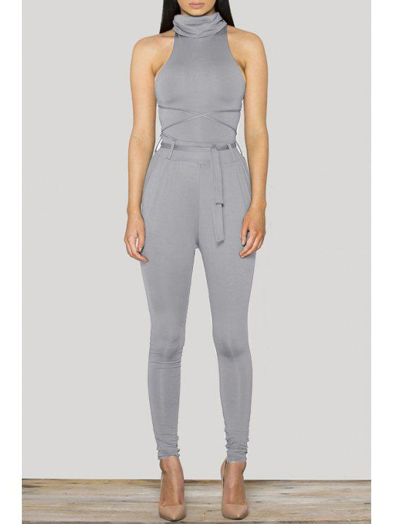 outfit Lace-Up Backless Solid Color Bodycon Jumpsuit - GRAY S