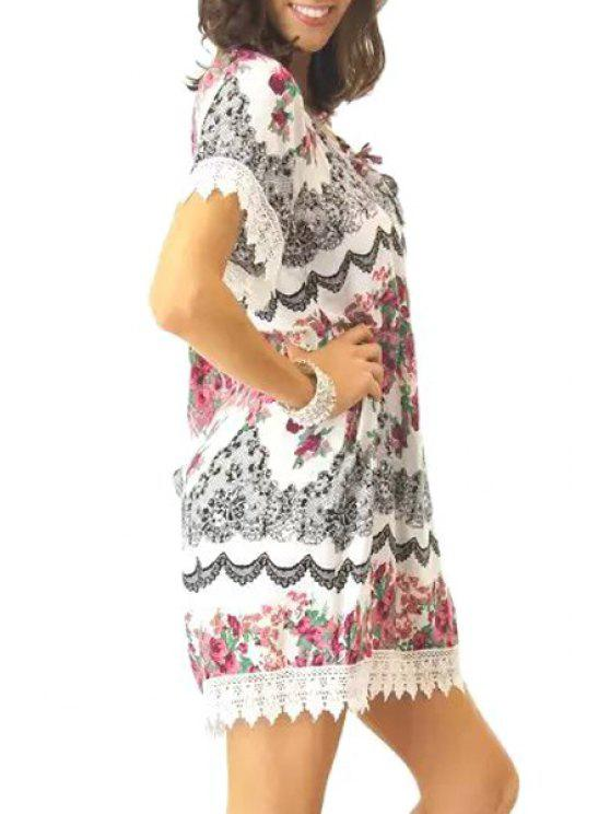 unique Lace Spliced Floral Short Sleeve Dress - BLACK AND WHITE AND RED S