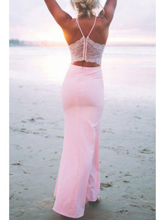 fashion Spaghetti Strap Backless Lace Splicing Sleeveless Dress - PINK ONE SIZE(FIT SIZE XS TO M)