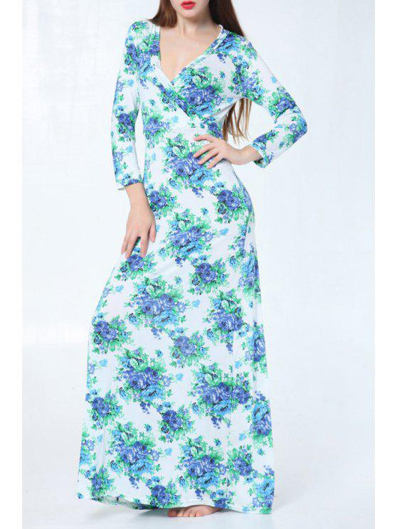womens V Neck Blue Floral Print Long Sleeve Dress - WHITE ONE SIZE(FIT SIZE XS TO M)