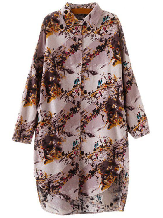 fashion Shirt Collar Floral Print Dress - BROWN ONE SIZE(FIT SIZE XS TO M)