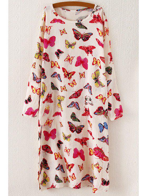 sale Long Sleeve Butterfly Print Midi Dress - PINK ONE SIZE(FIT SIZE XS TO M)