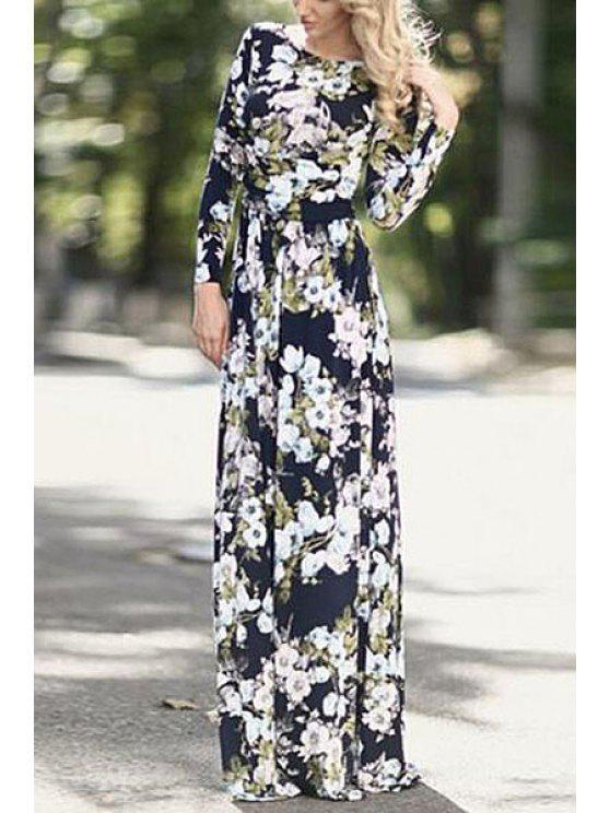women Long Sleeve Flower Print Maxi Dress - BLACK S