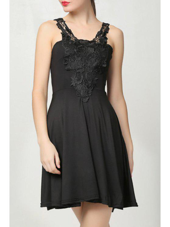 best Straps Lace Splicing Pure Color Sleeveless Dress - BLACK ONE SIZE(FIT SIZE XS TO M)