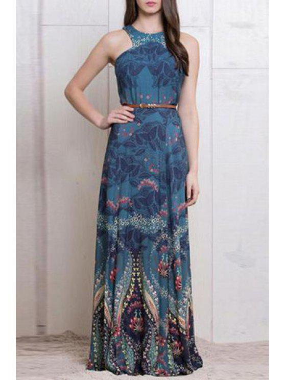 online Sleeveless Printed Maxi Dress - BLUE S
