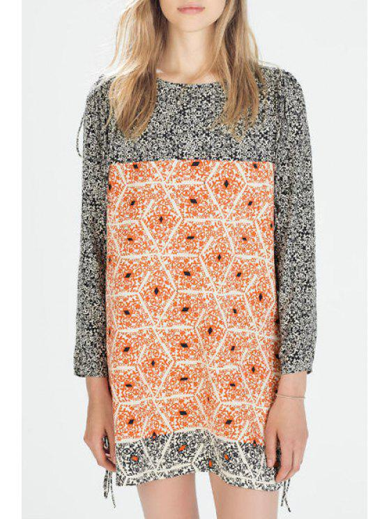 sale Print Spliced Jewel Neck Long Sleeve Dress - AS THE PICTURE S