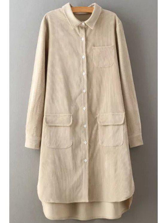 women Corduroy Turn Down Collar Long Sleeve Shirt - CRYSTAL CREAM L