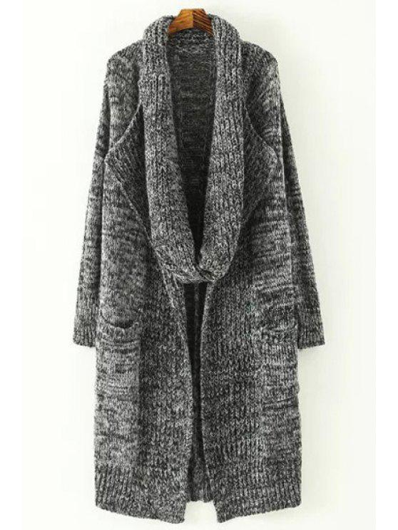 trendy Gray Turn Down Collar Long Sleeves Cardigan - GRAY ONE SIZE(FIT SIZE XS TO M)
