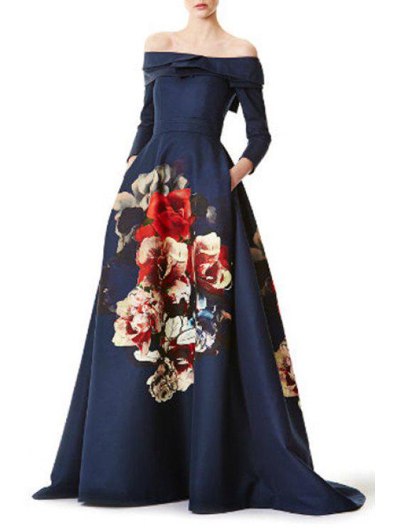 0ad0870d0c2e 31% OFF] 2019 Big Flower Print Maxi Dress In BLUE | ZAFUL