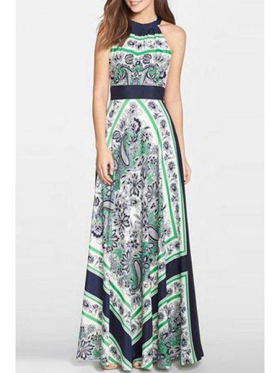 online Sleeveless Vintage Print Maxi Dress - GREEN S