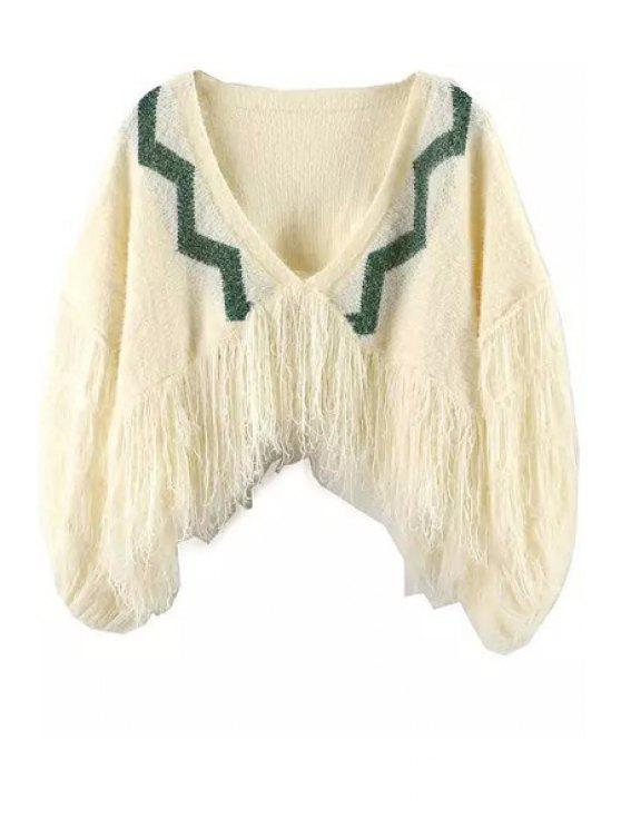 buy Tassels V Neck Long Sleeve Jumper - YELLOW ONE SIZE(FIT SIZE XS TO M)