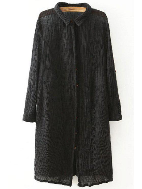 affordable Pleated Turn Down Collar Long Sleeve Shirt - BLACK ONE SIZE(FIT SIZE XS TO M)