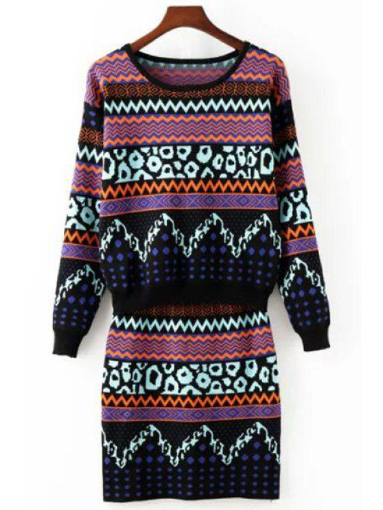 fancy Zig Zag Long Sleeve Sweater and Knit Skirt Suit - COLORMIX ONE SIZE(FIT SIZE XS TO M)