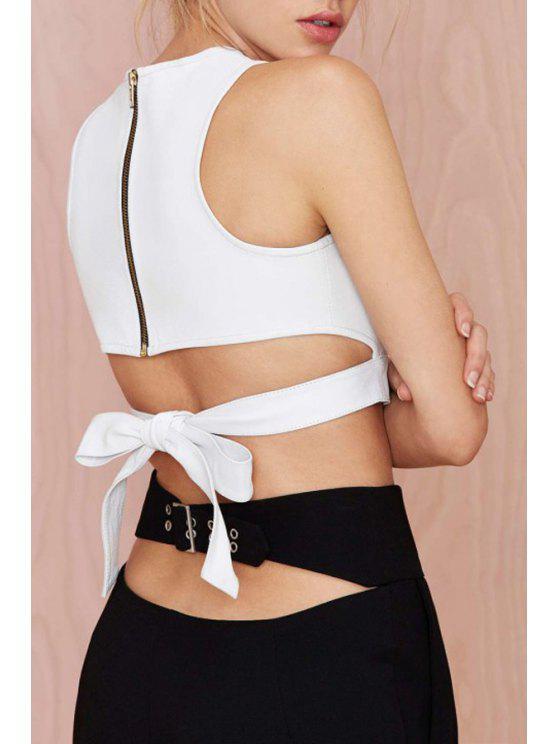 women Back Tie Knot Sleeveless Crop Top - WHITE S