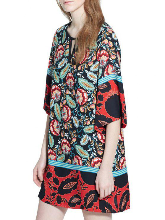 chic Floral Print Round Collar Half Sleeves Straight Dress - RED M