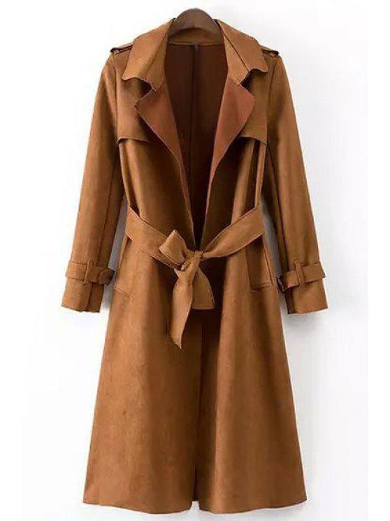 best Faux Leather Lapel Long Sleeve Coat - BROWN M