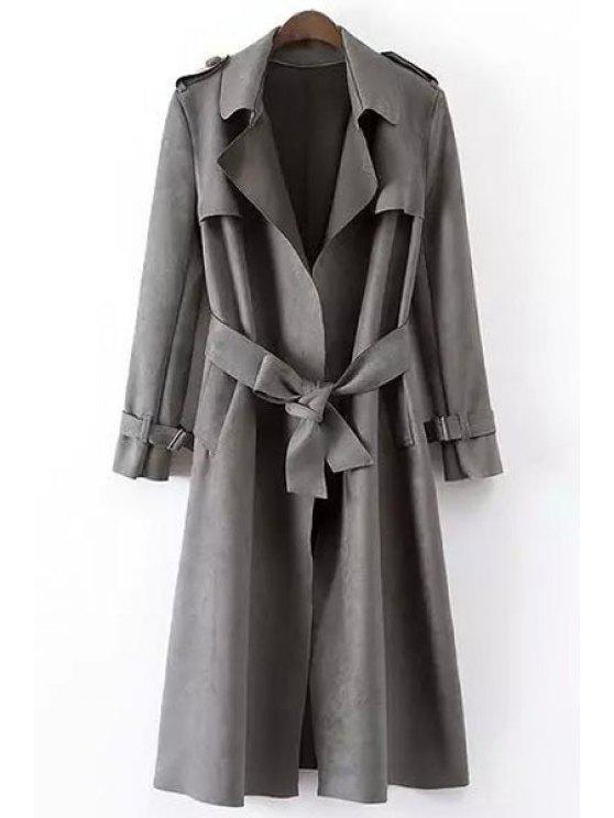 outfit Faux Leather Lapel Long Sleeve Coat - GRAY L