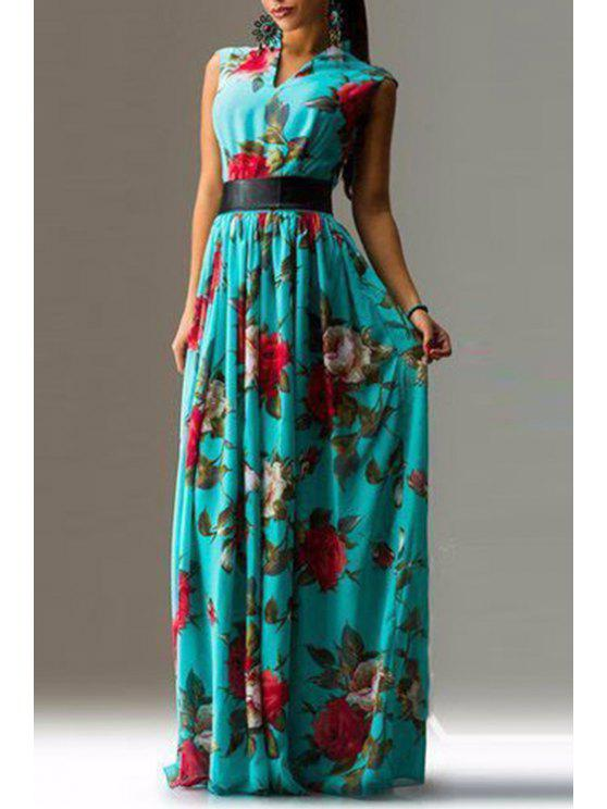 chic Flower Print V Neck Sleeveless Maxi Dress - AS THE PICTURE S