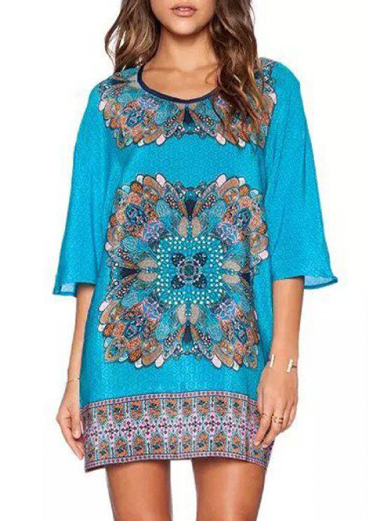 women's Scoop Neck Floral Printed Half Sleeve Dress - WATER BLUE S