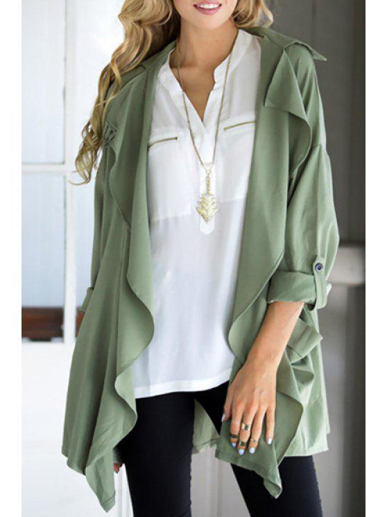 fashion Solid Color Lapel Collar Long Sleeve Trench Coat - AS THE PICTURE S