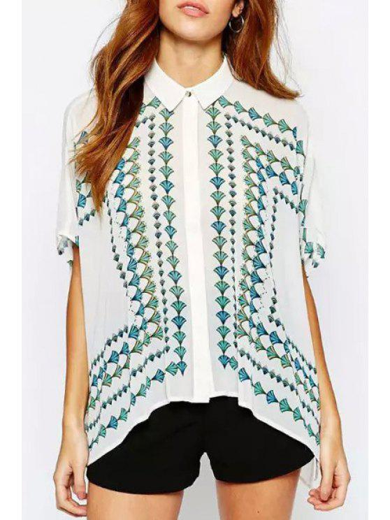 women's Loose-Fitting Green Leaf Print Flat Collar Blouse - WHITE S