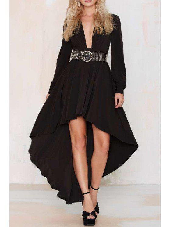 unique Plunging Neck High Low Long Sleeve Black Dress - BLACK S