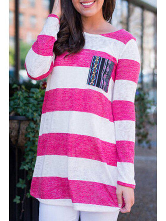 shops Long Sleeve Striped T-Shirt - RED WITH WHITE S