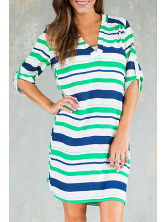 fashion V Neck Color Block Stripes Half Sleeve Dress - COLORMIX S