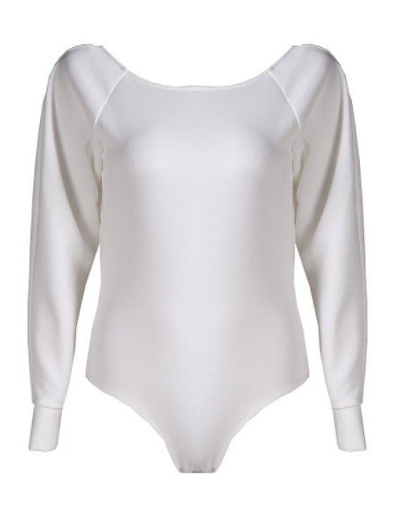 new Long Sleeve Backless White Romper - WHITE S