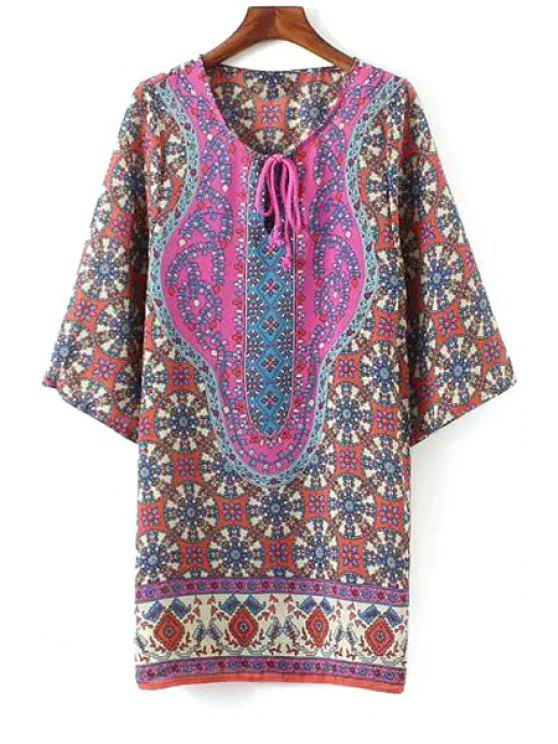 best 3/4 Sleeve Printed Straight Dress - COLORMIX S