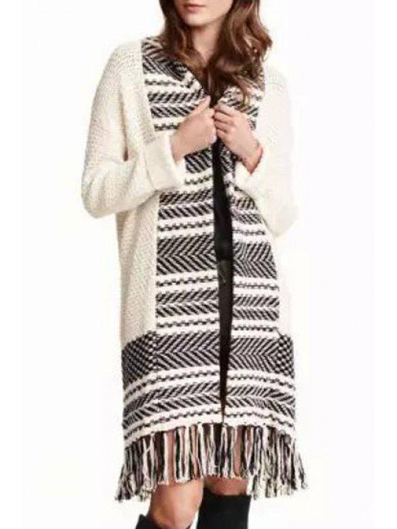 chic Black Stripe Splicing Long Sleeve Cardigan - AS THE PICTURE ONE SIZE(FIT SIZE XS TO M)