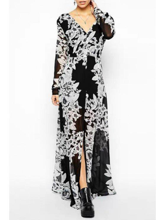 affordable White Floral Print Long Sleeve Maxi Dress - WHITE AND BLACK S