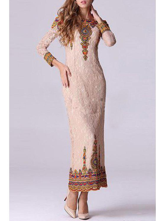 best Color Block Lace Splicing Long Sleeve Dress - PINK S